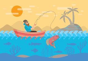 Pesca con mosca con el vector del barco