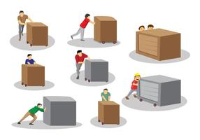Man Pushing Box Vectors