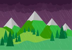 Free Vector Rainy Landscape