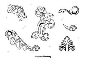 Ornamentos desenhados à mão do vintage