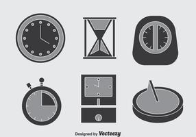 Clock Grey Icons Vector