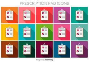 Prescription Pad Flat Color Vector Icons
