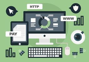 Ilustración vectorial de trabajo en línea