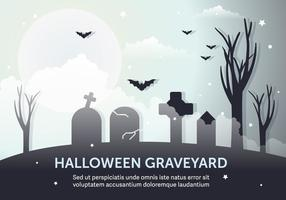 Dark Halloween Graveyard Vector Illustration