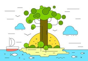 Baobob Island Vector Illustration