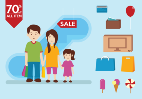 Family Shopping Infography Vectors