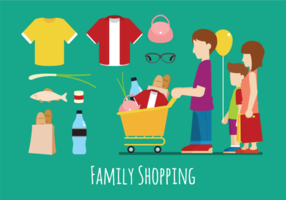 Illustration of Family Shopping Vectors