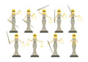 Lady Justice Illustration em Flat Design Style