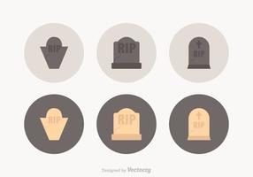 Libere los iconos del vector de la piedra sepulcral