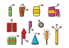 Feuer Cracker Vektor Icons