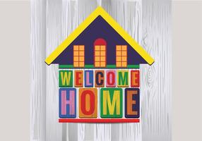 Cute House Welcome Home Vector