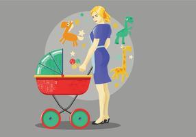Babysitter avec Dino Toys Vector