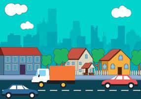 Diseño libre del vector del paisaje de la ciudad