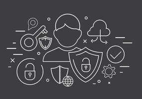 Vector libre tecnología y los iconos de seguridad