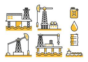 Iconos del vector del campo petrolífero