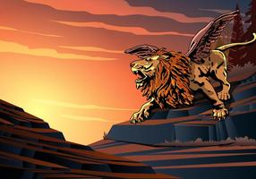 Winged Lion Screaming vector