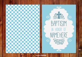 Gingham Baptisim Card per Boy