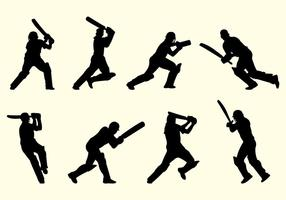 Silhouette Of Cricket Players vector