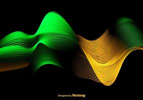 Abstract Colorful Green And Yellow Wave - Vector
