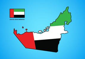 UAE-karta med flaggvektor