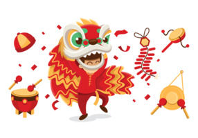 Lion Dance Vector Illustration
