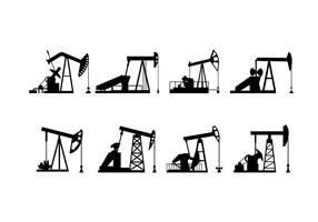 Vetor da silhueta da bomba do campo petrolífero