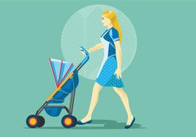 Barnvakt eller mamma med barnvagnsvektor