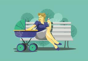 Babysitter sur un banc de vecteur