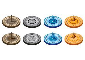 Set von Sun Dial Vektoren