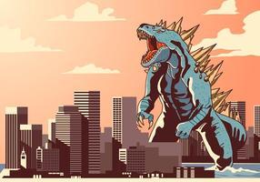 Godzilla en el vector de la ciudad