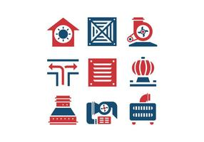 Air conditioning and air compressor vector icons