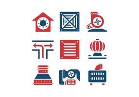 Icone di vettore di aria condizionata e compressore d'aria