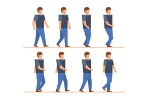 Man walk cycle vectors
