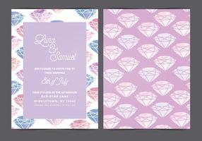 Invitation de mariage de gemme d'aquarelle vectorielle
