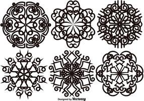 Vector Set Van Elegante Sneeuwvlokken