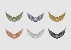 Set of metallic wizard sports emblems