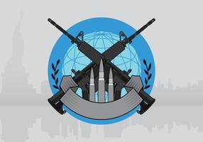 AR15 Badge Illustration Template