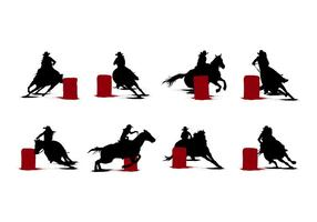 Free Barrel Racing Silhouetten Vektor