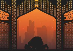Qatar Man pray illustration