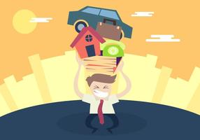 Man Pushing Stress Illustration Vektor
