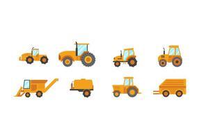 Free Flat Tractors Vector Set