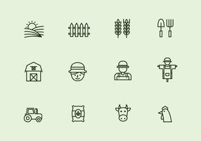 Vector boerderij dunne lijn icoon