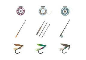 Fliegenfischen Werkzeuge Vektor