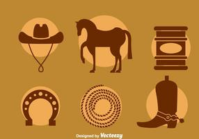 Barrel Racing Element Icons Vector