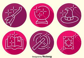 Hogwarts Element Line Icons Vektor