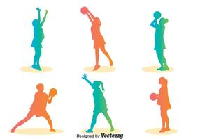 Colorful Silhouette Netball Player Vector