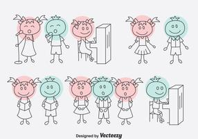 Handdragen Cartoon Choir Vector Set