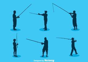 Vettore della siluetta di pesca dell'uomo