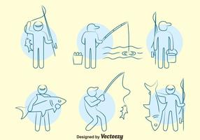Fishing Fish Line Icons Vector Set