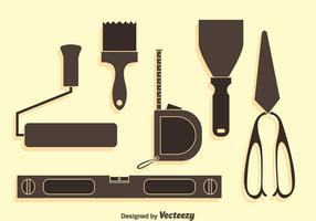 Home Construction Tools Silhouette Vector Set